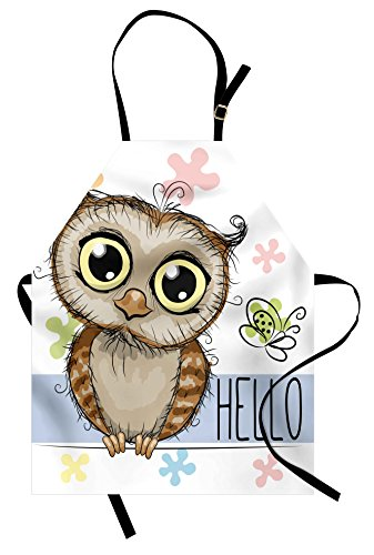 Ambesonne Owls Apron, Cartoon Owl and a Butterfly on a Floral Background with Hello Message Illustration, Unisex Kitchen Bib Apron with Adjustable Neck for Cooking Baking Gardening, Blue White ()