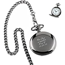 Personalized Engraved Pocket Watch With Removable Chain | Free Engraving (Black)
