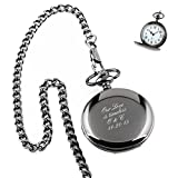 Personalized Engraved Pocket Watch With Removable Chain   Free Engraving (Black)