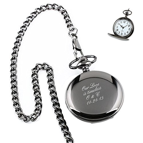 Stainless Chain Watch Pocket Steel - Personalized Engraved Pocket Watch With Removable Chain | Free Engraving (Black)