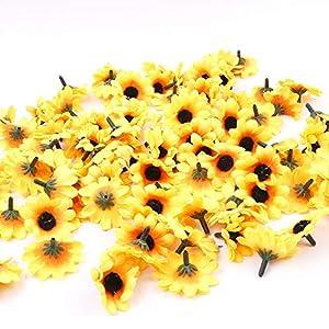 IETONE 100 Pieces Artificial Gerbera Daisy Flowers Heads for DIY Wreath Gift Box Scrapbooking Craft Wedding Party (Yellow Sunflower) 5