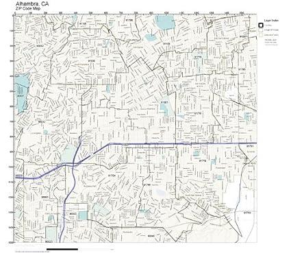 Amazon.com: ZIP Code Wall Map of Alhambra, CA ZIP Code Map