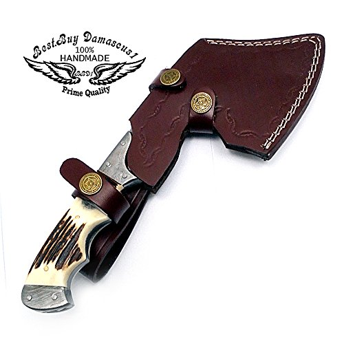 """Best.Buy.Damascus1 Stag Horn 9.9"""" Fixed Blade Custom Handmade Damascus Steel Hunting Axe with Damascus Steel Spacers Unique File Work On The Handel A Piece of Craftsmanship Limited Edition"""