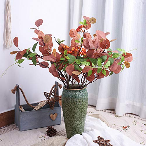 YILIYAJIA Artificial Silver Dollar Eucalyptus Leaf Berry Bunch Greenery Stems Silk Bushes Plastic Plants Home Party Wedding Decoration (Red)