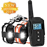 HISEASUN Dog Training Collar for 2 Dogs Waterproof Rechargeable New 2019 Reflective Collar with Tracking Light,Beep,Vibration and Shock