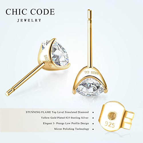 a3d097a89 ''STUNNING FLAME'' 18K Gold Plated Silver Brilliant Cut Simulated Diamond  CZ Stud. ''