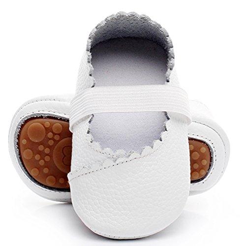 (HONGTEYA Girls Dance Ballet Mary Jane Flats Shoes Rubber Sole Bottom Baby Moccasins Sandals (0-6M/4.33inch,)