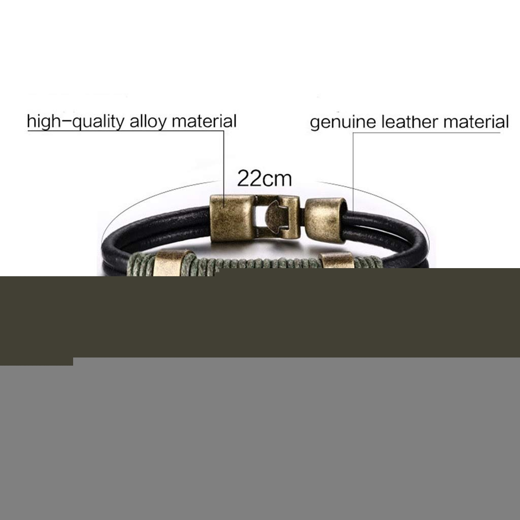 ANAZOZ Gold Plated Bracelet for Men Leather Bangle Bracelet Black Vintage Leather Bracelet 22CM