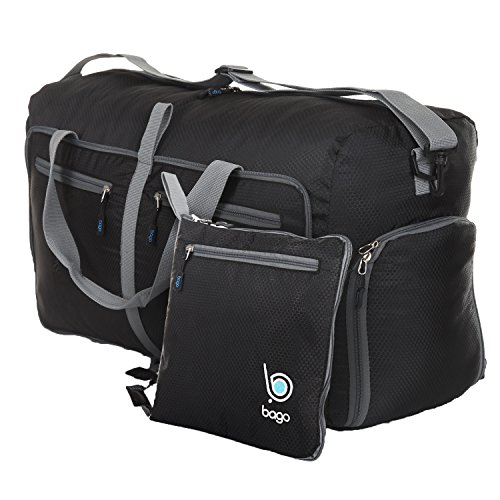 "bago Travel Duffle Bag For Women & Men - Foldable Duffel Bags For Luggage Gym Sports (Large 27"",Black)"