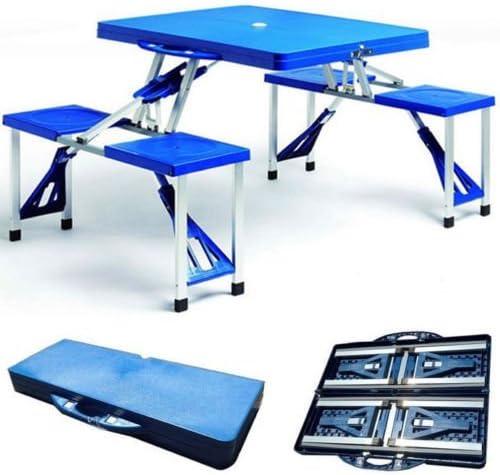 Juego PicNic de aluminio y ABS, mesa y 4 sillas plegables para maleta de Camping 973384