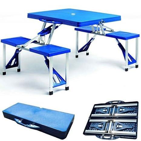 Juego PicNic de aluminio y ABS, mesa y 4 sillas plegables ...