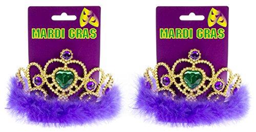 Mardi Gras Crown Tiara with Jewel Gold - Two Piece Set (Mardi Gras Crowns And Tiaras)