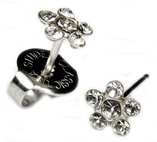 s Clear Crystal Daisy Flower Silver Studs Studex System 75 ()