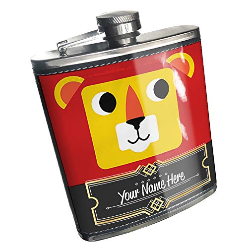 Neonblond Flask Cute Kids Designs Lion Custom Name Stainless Steel