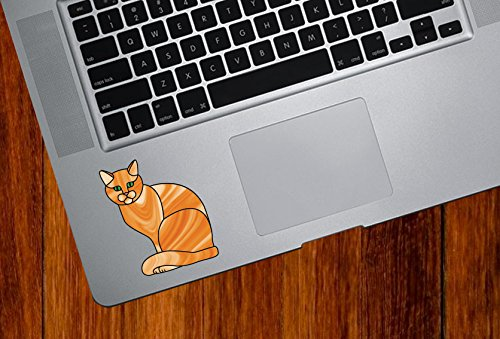 Yadda-Yadda Design Co. Orange Ginger Charming Cat Stained Glass Style - Trackpad | Tablet | Computer - Vinyl Decal Sticker YYDC (2.25