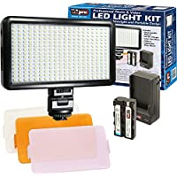Vidpro LED-300 Ultra-Slim Professional Photo & Video Light Kit with 3 Diffusers, Battery & Charger