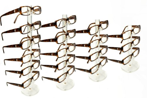New Set of 4 Clear Acrylic 6,5,4,3 Tier Eyeglass Sunglasses Glasses Display - Display Sunglasses Wholesale