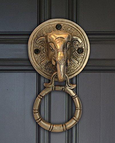 NEW YEAR SALE - Door Knocker Elephant Brass Lord Ganesha Head 6.1 Inch Big Door Knockers - Heavy Duty, Solid, Animal Antique Look - Unique Gift Ideas - Outdoor & Indoor Elephant Home Decor