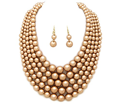 Fashion 21 Women's Five Multi-Strand Simulated Pearl Statement Necklace and Earrings Set (Matte Gold)