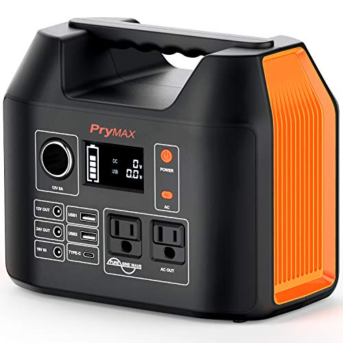 PRYMAX Portable Power Station, 300W Solar Generator 2019 Updated 298Wh Lithium Battery Backup Power Supply 90000mAh,110V/300W Pure Sine Wave,AC Outlet, QC3.0 USB,for Outdoors Camping Travel Emergency (Model Power Station)