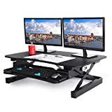 ApexDesk EDR-3612-BLACK ZT Series Height Adjustable Sit to Stand Electric Desk Converter, 2-Tier Design with Large 36x24' Upper Work Surface and Lower Keyboard Tray Deck (Electric Riser, Black)