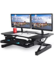"""ApexDesk EDR-3612-BLACK ZT Series Height Adjustable Sit to Stand Electric Desk Converter, 2-Tier Design with Large 36x24"""" Upper Work Surface and Lower Keyboard Tray Deck (Electric Riser, Black)"""
