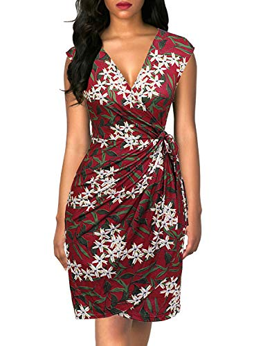 Berydress Women's Classic Cocktail Party Cap Sleeve Deep V Neck Draped Waist Tie Belt Knee-Length Faux Wrap Dress (M, 6028-Red Floral)