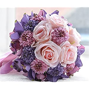 Elegant Wedding Flowers Bridal Bouquets Rose Wedding Bouquet Handmade Artificial Flowers Bridemaids Holding Flowers Cymbidium For Party Decoration 65
