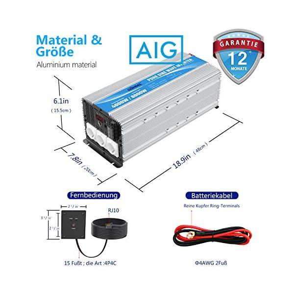 5143zp0R0LL 3000W Wechselrichter 12V auf 230V Reiner Sinus Spannungswandler Umwandler-Inverter Konverter mit Fernbedienung LED…