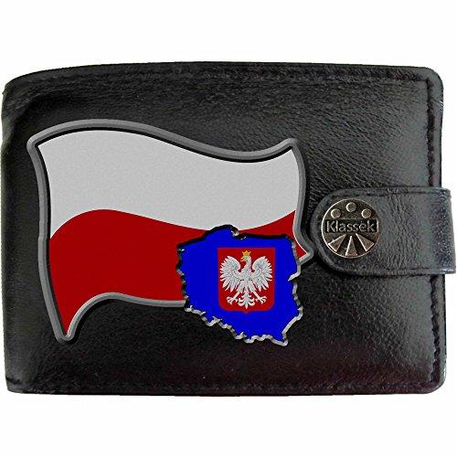 Véritable Avec Klassek Drapeau Porte Boîte Armoiries Portefeuille Pologne Cuir En Présente Carte Cadeau Polska Monnaie Noir Homme Métal Polonais qPZHcAx