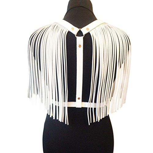 Raylans Women Tassels Strap Solid Leather Waist Belt Costume accessories For Party White ()