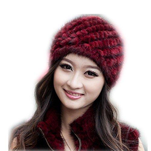 Fur Top Hat - Popular Women Winter Cap Knitted Mink Fur Hat Top 22# (Wine-red)