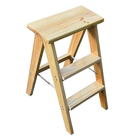 SONGTING Step stool Taburetes de Madera Maciza Plegable de ...