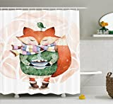 Animal Shower Curtain by Ambesonne, Cute Little Fox and Bird on His Head Tea Time Kids Nursery Friends Baby Theme, Fabric Bathroom Decor Set with Hooks, 70 Inches, Green Orange