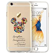 Cartoon Movie Character Themed Fan Art CLEAR Hybrid TPU Surround with Hard Back Cover Case for iPhone Range - iPhone 5/5s-Mickey Mouse Disney Themed Quote