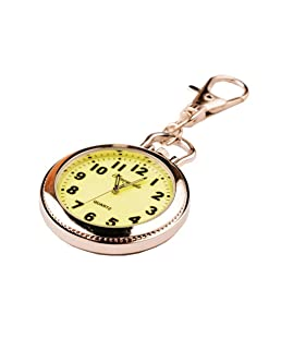 New Big Round Easy to Read time Key Ring Keychain Pocket Watch Gift (with Luminous)