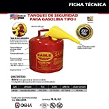 """Eagle UI-50-FS Red Galvanized Steel Type I Gasoline Safety Can with Funnel, 5 gallon Capacity, 13.5"""" Height, 12.5"""" Diameter,Red/Yellow"""