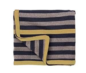 Les Petites Choses Leo COUVLEO05 rayado Merino manta de lana azul / Mocha / Mostaza