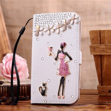 Incore Creative Samsung I9150 i9152 i9158 Galaxy Mega 5.8 Bling Jewelry Diamond Gem Leather Smart Case Cover With Magnetic Flip Horizontals & Card Holder - Sweet Women Kitty 4 Flowers