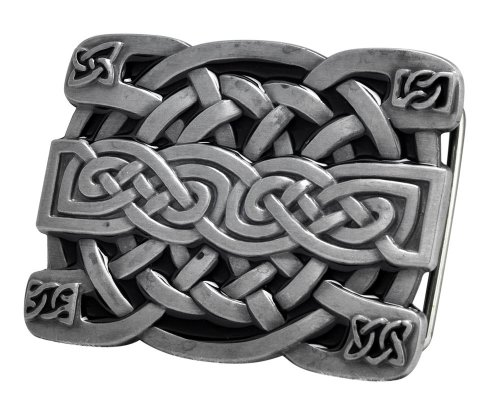 [Buckle Rage Men's Celtic Endless Knot Braided Art Design Belt Buckle Black] (Design Belt Buckle)