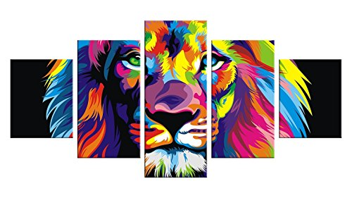 [Mountain Lion Decal 5 Pieces Canvas Wall Art - Oil Painting Printed Wall Decor - Unframed Decoration for Home - Lion Head, Gold Lion Wall Decal, Roaring Lion, Lion Face] (Rafiki Lion King Halloween Costume)