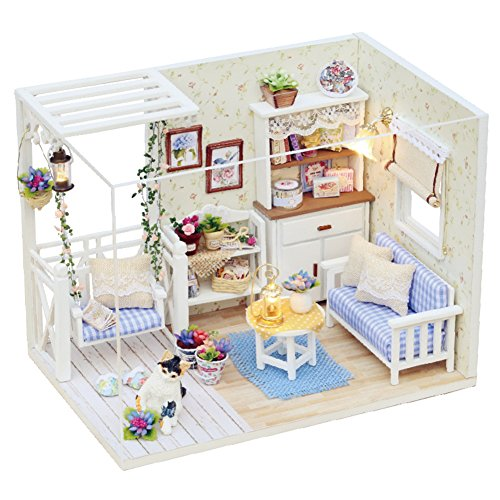 CUTEBEE Handmade Doll House Miniature with Furniture Dust Cover LED Light, Diy Wooden Dollhouse Toys Fit for Teens Adults Christmas Gifts and Crafts A…