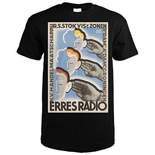 Erres Radio Vintage Poster (artist: Moerkerk) Netherlands c. 1940 (Black T-Shirt XX-Large)