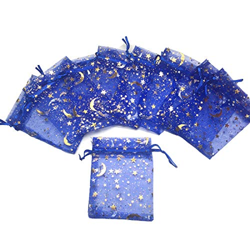COTOSEY 100PCS Stars and Moon Organza Drawstring Pouches Jewelry Party Wedding Favor Gift Bags (3X4 Navy Blue)