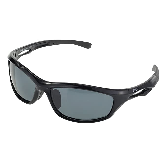 8467c5b42f DUCO Polarized Sports Sunglasses for Running Cycling Fishing Golf TR90  Unbreakable Frame 6199 Black Frame Gray