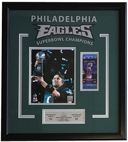 Nick Foles Framed 23x25 Eagles Super Bowl 52 LII Trophy Champions Photo (Super Bowl Frame)
