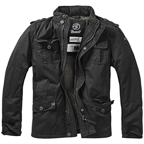 Brandit Men's Britannia Winter Jacket Black size M (Black Army Leather Logo Jacket)
