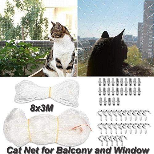 Red de protección para gatos para balcón y ventana, 8 x 3 m, red de protección para gatos, red para gatos y pájaros con 25 m de cuerda de fijación, ganchos y