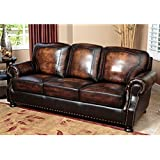 "Abbyson Living Tannington SK-2308-BRN-3 86"" Stationary Leather Sofa with Hand-Rubbed Upholstery Kiln Dried Hardwood Frame and Hand-Stitched Details in Two Tone"