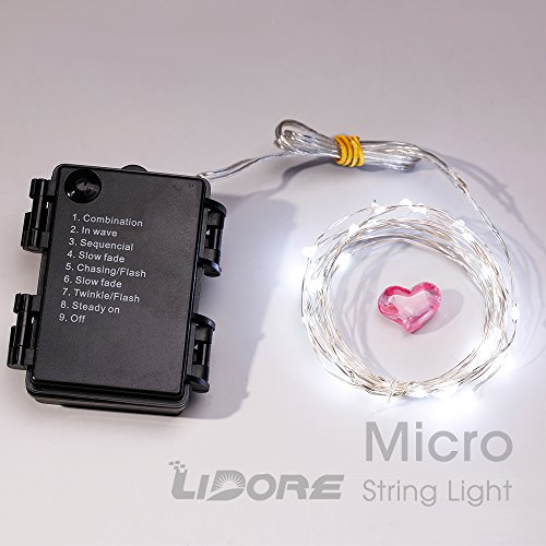 LIDORE Micro 30 Cold White LED String Lights with 8 modes. Waterproof series. 3AA Battery Operated